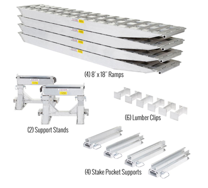 Picture of 4 Ramp Kit - (4) Aluminum Ramps with Stake Pocket Supports For Load Leveler -(Pick up only)