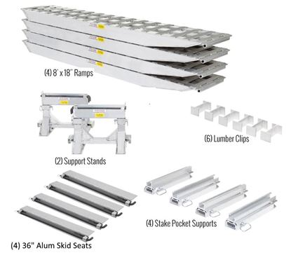 """Picture of KIT:  Full Kit (no mounting brackets) - 4 Ramp Kit - (4) Aluminum Ramps with Stake Pocket Supports For Load Leveler, 2 Ramp Stands, 4 Aluminum 36"""" Skid Seats  -(Pick up only)"""